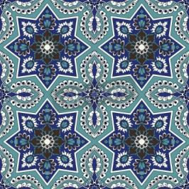 Obraz Arabesque seamless pattern in blue and turquoise in editable file