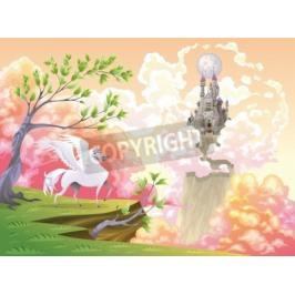 Obraz Pegasus and mythological landscape. Cartoon and vector illustration, objects isolated .